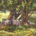 Sheep in Dappled Shade, Ashdown Forest, East Sussex – Pastel Landscape Artist – Juliet Murray – Sussex Artists Gallery