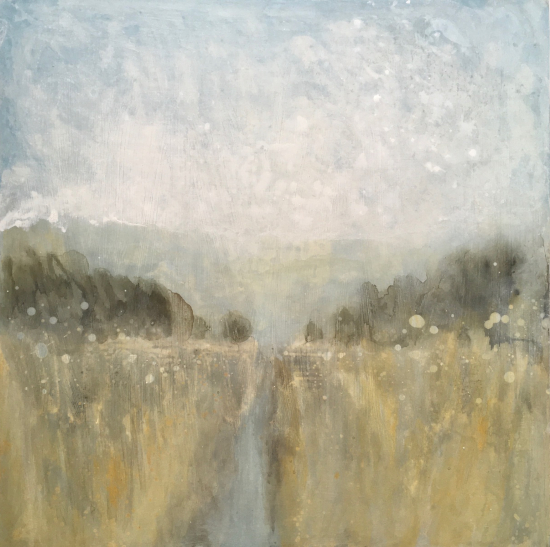 Spring in the Air - Ink Painting on Wood Panel - East Sussex Artist Nichola Campbell - Landscapes - Sussex Artists Gallery