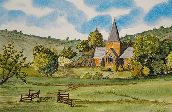 St Andrews Church Alfriston, East Sussex - Watercolour - East Sussex Artist Dave Styles - Sussex Artists Gallery