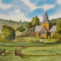 St Andrews Church Alfriston, East Sussex – Watercolour – East Sussex Artist Dave Styles – Sussex Artists Gallery
