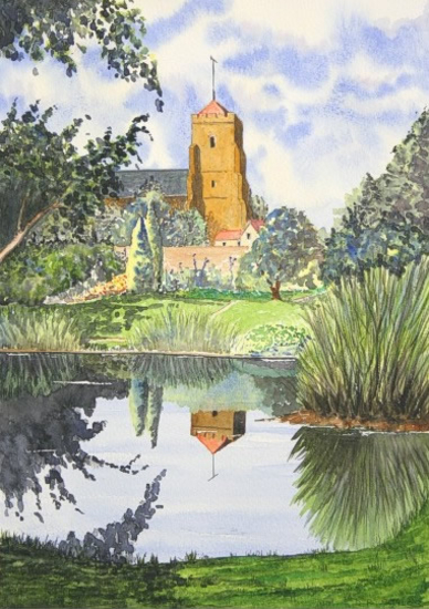 St Mary's Church, Old Town, Eastbourne, Sussex - Watercolour - East Sussex Artist Dave Styles - Sussex Artists Gallery
