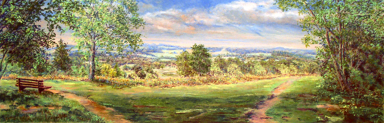 View from Bert Tyler's Bench, Ashdown Forest, East Sussex - Juliet Murray - Pastel Landscape Artist - Sussex Artists Gallery