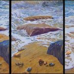 Wave Action – Triptych Oil Painting – Waves and Rocks on Beach – West Sussex Artist Tom Gillings – Sussex Artists Gallery