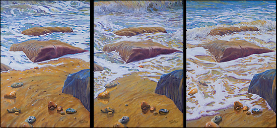 Wave Action - Triptych Oil Painting - Waves and Rocks on Beach - West Sussex Artist Tom Gillings - Sussex Artists Gallery