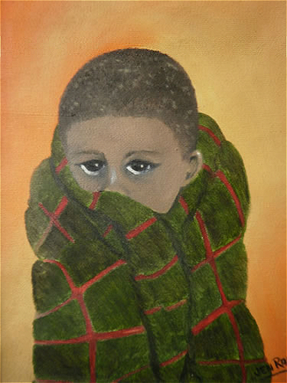 African Boy - Portrait in Oils - Jenny Rabie - Crawley, West Sussex Artist - Sussex Artists Gallery