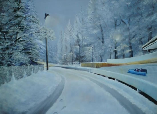 Austria - Egles - Snow Scene Bobsleigh - East Sussex Artist - 'Fro' (Derek Froggatt) - Wannock Artists