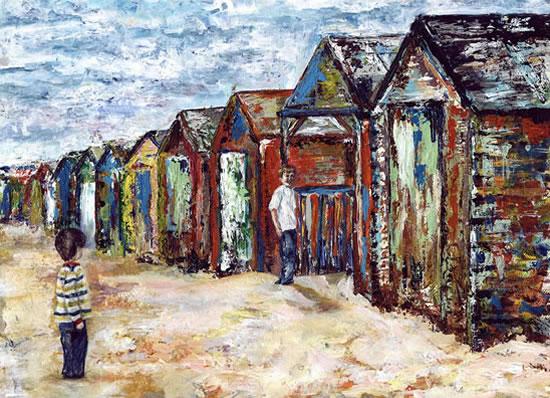 Beach Huts - Grainne Roche - Fine Artist - Byfleet Art Group - Woking Society of Arts - Surrey Art Gallery