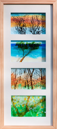 Beauty in Every Season - Watercolour Painting On Glass - Patsy Dinc - Sussex Artists Gallery - Glass Painting and Watercolour Artist