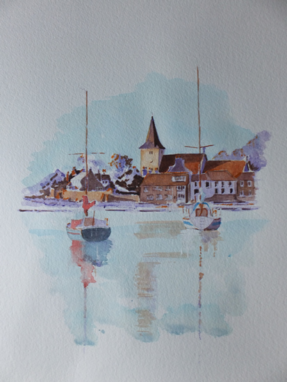 Bosham Harbour & Church Watercolour Painting 1