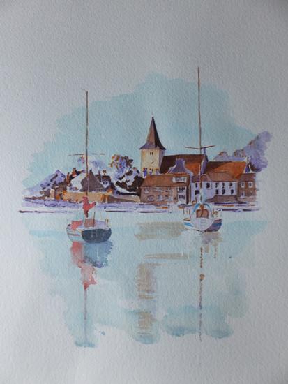 Bosham Harbour & Church Watercolour Painting 1