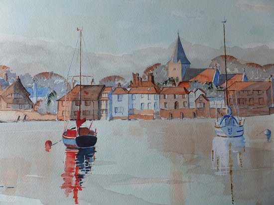 Bosham Harbour & Church Watercolour painting 2
