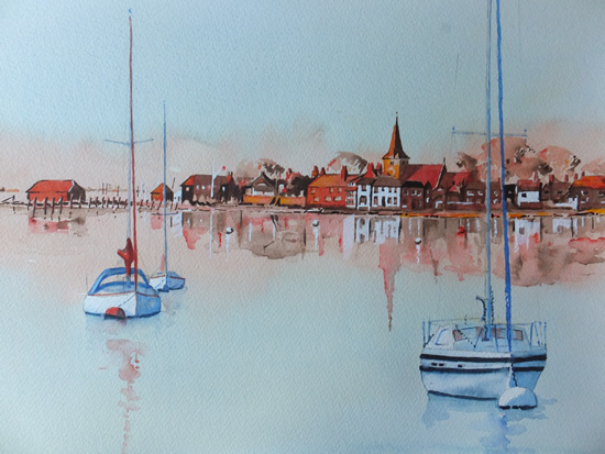 Bosham Harbour and Church near Chichester West Sussex - Surrey Art Gallery