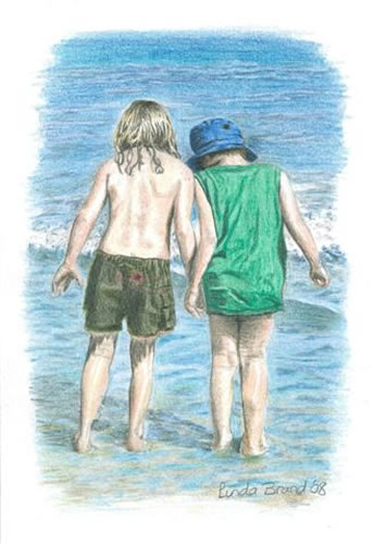 Searching on the Beach - Painting by Surrey Artist Linda Brand