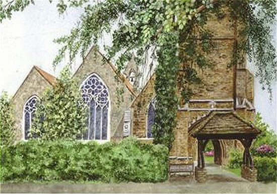 Church of St Mary, Oatlands, Weybridge, Surrey - Fine Art Prints - Sussex Artist - Audrey Laycock - Watercolour Gallery