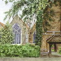 Church of St Mary, Oatlands, Weybridge, Surrey – Fine Art Prints – Sussex Artist – Audrey Laycock – Watercolour Gallery