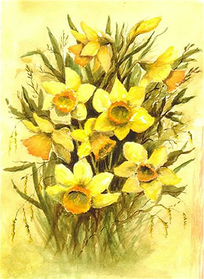 Daffodils - Floral Art Prints - Sussex Artist - Audrey Laycock - Watercolour Gallery