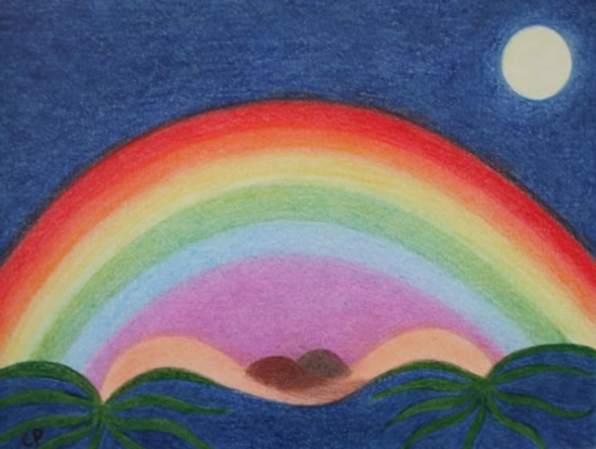 Dreamscape - Rainbow - Claudine Péronne - Sussex Artists Gallery - Drawings in Pastel and Watercolour Pencil - West Sussex Art Society