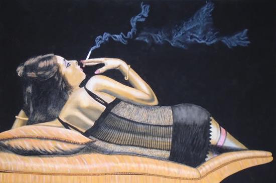 Girl having a Quiet Smoke - Horsham, West Sussex Artist - Roger Gasson
