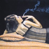 Girl having a Quiet Smoke – Horsham, West Sussex Artist – Roger Gasson