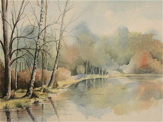 Gracious Pond, Chobham, Surrey - Fine Art Prints - Sussex Artist - Audrey Laycock - Watercolour Gallery