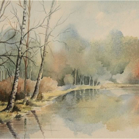 Gracious Pond, Chobham, Surrey – Fine Art Prints – Sussex Artist – Audrey Laycock – Watercolour Gallery
