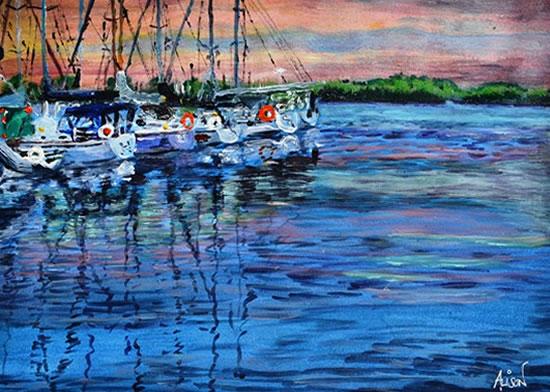 Harbour Sunset - Artist Ali Woolgar - Coast Art Gallery