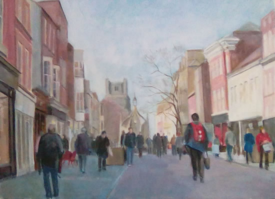 Chichester - Busy Street - Margaret Harvey - West Sussex Art Gallery