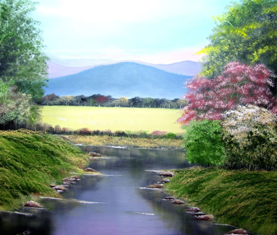 Little Stream - Landscape Painting - Jenny Rabie - Crawley, West Sussex Artist - Sussex Artists Gallery