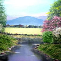 Little Stream – Landscape Painting – Mountains and Flowers – Jenny Rabie – Crawley, West Sussex Artist – Sussex Artists Gallery