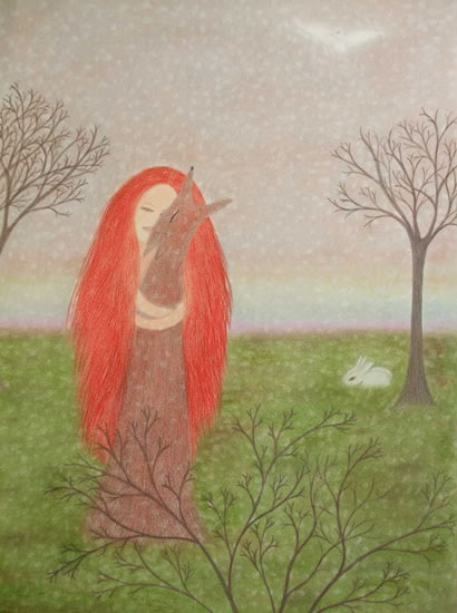 Longing - Claudine Péronne - Sussex Artists - Drawings in Pastel and Watercolour Pencil - Shoreham Gallery