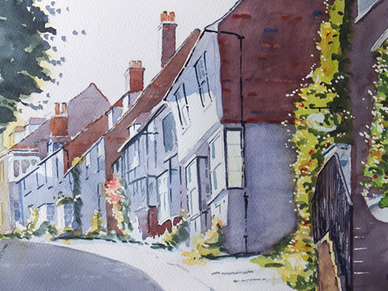 Mermaid Street, Rye - East Sussex Art Gallery - Painting by Woking Surrey Artist David Harmer, Pirbright Art Group & Woking Society Of Arts