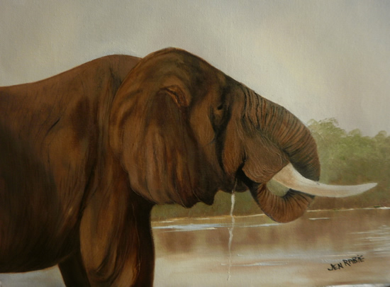 My Elephant - Animal Oil Painting - Jenny Rabie - Crawley, West Sussex Artist - Sussex Artists Gallery