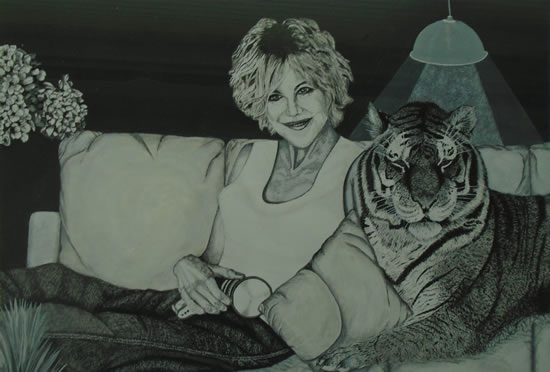 On the Sofa with my Tiger Friend - Horsham, West Sussex Artist - Roger Gasson