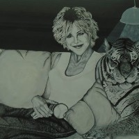 On the Sofa with my Tiger Friend – Horsham, West Sussex Artist – Roger Gasson