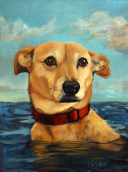 Painting of Dog Swimming in the Sussex Sea – by Artist Colette Simeons