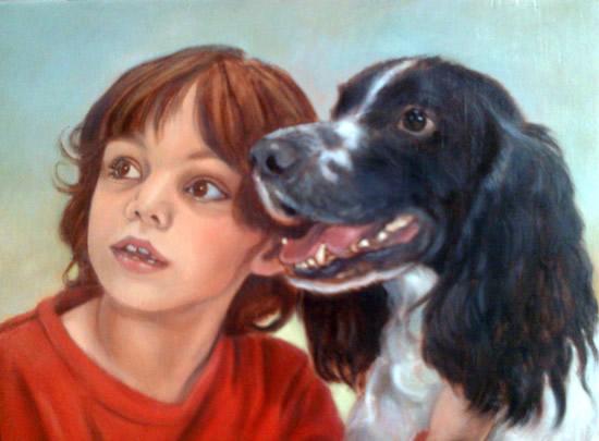 Portrait Painting of Child & Dog – Art by Colette Simeons