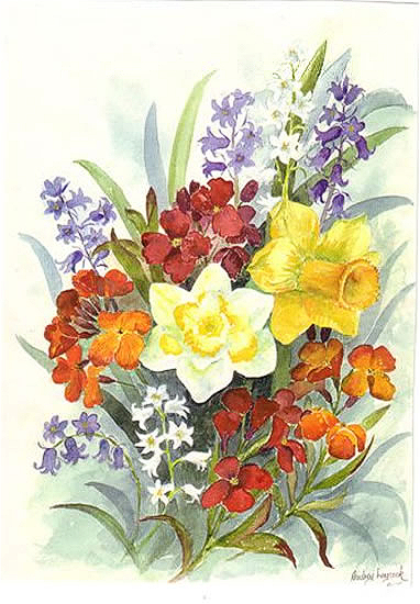 Spring Bouquet - Floral Art Prints - Sussex Artist - Audrey Laycock - Watercolour Gallery