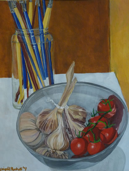 Still Life - Garlic & Tomatoes - Sussex Art Gallery