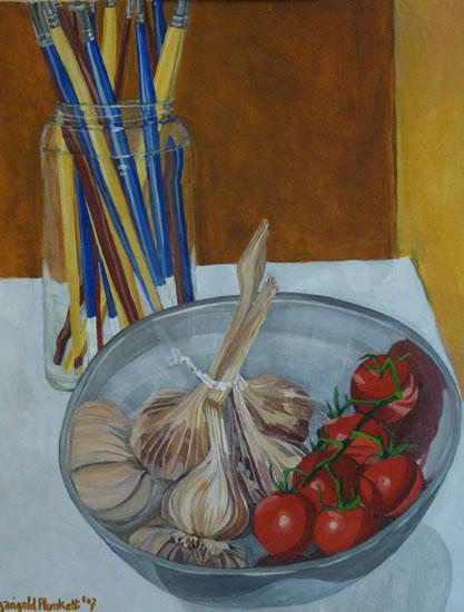 Still Life - Garlic & Tomatoes - Sussex Art Gallery