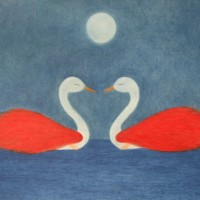 Swans – Encounter – Claudine Péronne – Sussex Artists Gallery – Drawings in Pastel and Watercolour Pencil, Art on Shells