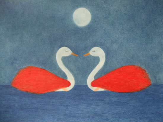 Swans - Encounter - Claudine Péronne - Sussex Artists Gallery - Drawings in Pastel and Watercolour Pencil, Art on Shells