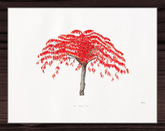 The Cherry Tree - Watercolour Painting - Patsy Dinc - Sussex Artists Gallery - Glass Painting and Watercolour Artist