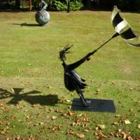 Garden Sculpture – Girl with umbrella in the wind – Pulborough West Sussex Sculptor and Artist Jericho
