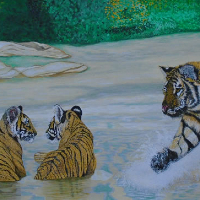 Tiger & Cubs - Horsham Artist - Roger Gasson