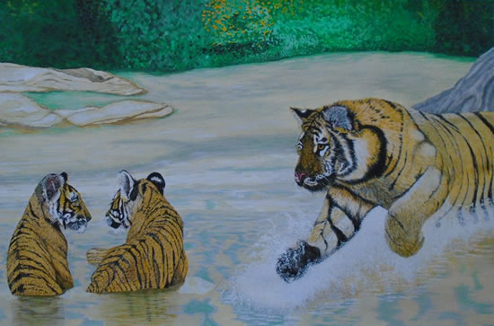 Tigers - Mum Worried about the Cubs - Horsham, West Sussex Artist - Roger Gasson - Gallery