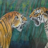 Two Young Tigers Roaring – Horsham, West Sussex Artist – Roger Gasson