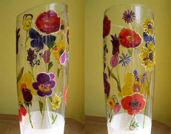 Vase of Flowers - Paint on Glass - Patsy Dinc - Sussex Artists Gallery - Glass Painting and Watercolour Artist