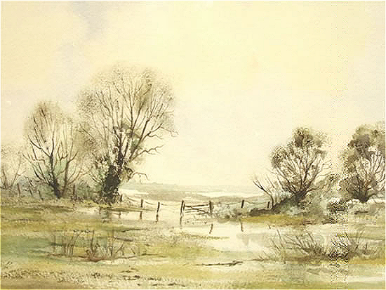 Water Meadows, Ripley, Surrey - Fine Art Prints - Sussex Artist - Audrey Laycock - Watercolour Gallery