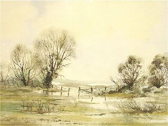 Water Meadows, Ripley, Surrey - Fine Art Prints - Sussex Artist - Audrey Laycock - Watercolour Gallery
