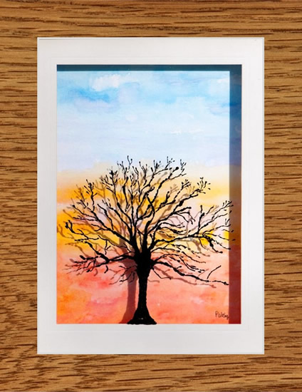 Winter Branches Reveal Sunset - Watercolour Painting on Glass - Patsy Dinc - Sussex Artists Gallery - Glass Painting and Watercolour Artist